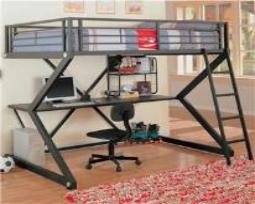 This Bunk Bed work station is unique because it has a full bed on top. It is VERY Sturdy!