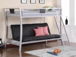 silver metal futon  bunk bed